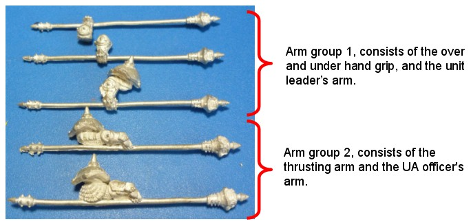 Ironfang Pikemen – Brass rod replacement of the spear shafts
